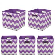 Modern Littles Organisation Bundle Storage Bins, Colour Pop Purple Chevron, 5 Count