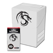 BCW WHITE Standard Deck Case for Collectable Gaming Cards like Magic The Gathering MTG, Pokemon, YU-GI-OH!, & More. Dragon Graphic on BOX.