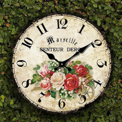 Romantic Roses Clock, 30cm Eruner Country Floral Wall Clock Wooden Art Decor Non-Ticking Home Decoration