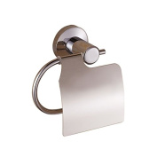 Bathroom Toilet Paper Holder With Cover Bright Stainless Steel Wall Mount