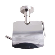 Bathroom Toilet Paper Holder With Cover Stainless Steel Polish Style Wall Mount