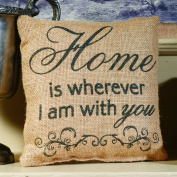 "Small Burlap ""Home Is Wherever I Am With You"" Pillow"