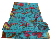Bird Print Twin Size Kantha Quilt Sky Blue , Kantha Blanket, Bed Cover, Twin Kantha bedspread, Bohemian Bedding Kantha Size 150cm x 230cm