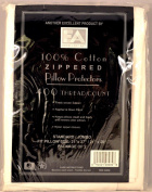 Ultra Featherproof Zippered All Cotton Pillow Protector 400 Thread Count - Set of Two