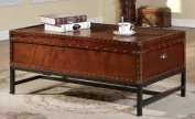 Furniture of America Cassone Contemporary Trunk Style Coffee Table, Cherry