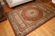 Cinnamon Red Rose Traditional Isfahan Floral Wool Persian Wool Area Rug Rugs 4032 2.1m3m x 3m5