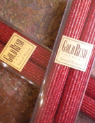 20cm Natural Beeswax Glitter Candles, Ruby Red Colour, Boxed Set of 2