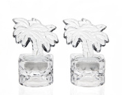 SET OF 2 PALM SHAPED CRYSTAL CANDLE VOTIVE HOLDERS