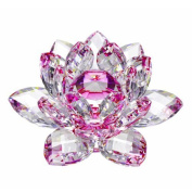Amlong Crystal High Quality Hue Reflection Crystal Lotus Flower with Gift Box, 7.6cm , Pink