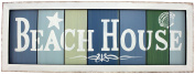 Beach House, Colours of the Sea Wood Slat Sign with White Washed Framed Look
