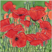 Continental Art Centre BD-2092 20cm by 20cm Red Poppy Flowers with Green Background Ceramic Art Tile