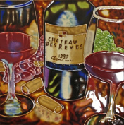 Continental Art Centre BD-0366 20cm by 20cm Wine with Glasses Ceramic Art Tile, Purple/Red