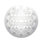 Party Essentials Hard Plastic 33cm Round Diamond Cut Serving Tray, Crystal Clear, Single Unit