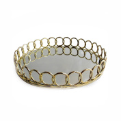American Atelier 1332746 Looped Round Mirror Tray, Gold