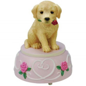 Golden Retriever Puppy Dog Musical Figurine with Red Roses Decoration