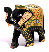 Hand Crafted Indian Royal Elephant Black Meenakari Painted Wooden Sculpture Statue