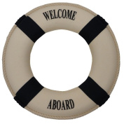Nautical Welcome Aboard Cloth Life Ring Blue 30cm - Decoration Only