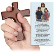 Religious 10cm Wood Hand Cross with Teen Creed Hold Firmly to Faith Holy Prayer Card Set