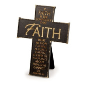 Lighthouse Christian Products Faith Wall/Desktop Cross, 9.5cm x 13cm , Black/Gold