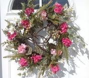 Melrose International Pink Geranium Ivory Wreath, 60cm