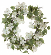 Melrose International Soft Cream Dogwood with Lush Soft Green Foliage Artificial Wreath, 70cm