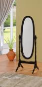 Queen Ann Style Cheval Floor Wood Mirror Black Finish