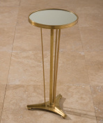 Global Views French Moderne Side Table, Antique Brass and Mirror