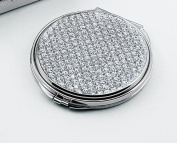 Glitter Galore Round Compact Mirror, Nickel Plated