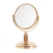Danielle Vanity Make-Up Mini Mirror Dual Sided Swivel with 4X Magnification, Studded Gold