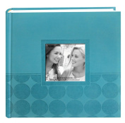 Pioneer Embossed 2-Up Photo Album 10cm x 15cm 200 Pockets-Aqua Circles