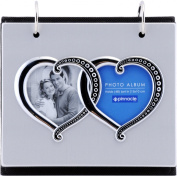Pinnacle Frames and Accents Silver Metal Double Heart Flip 50-Pocket Photo Album