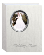 Pioneer Photo Albums 200 Pocket Ivory Moire Cover Album with Silver Tone Oval Frame and Wedding Album Text for 10cm x 15cm Prints