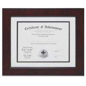 Lawrence Frames Dual Use Faux Burl 28cm by 36cm Certificate Picture Frame with Double Bevel Cut Matting for 22cm by 28cm Document, Mahogany