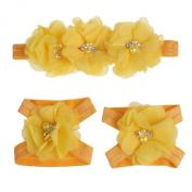Coromose Colourful Foot Flower Barefoot Sandals + Headband Set for Baby Infants Girls