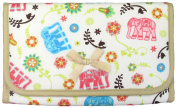 Cosmetic Bag with a Mirror, Cotton Fabric, Small Size, Elephants