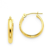 Small 14k Yellow Gold Tube Hoop Earrings with Flat Interior (2.75mm Tube), 15mm