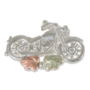 Motorcycle Lapel Pin in Black Hills Gold Sterling Silver - tie tack pin or hat pin