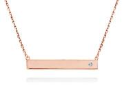 Horizontal Bar Necklace CZ .925 Sterling Silver Bar Pendant Rose Gold-Tone 41cm - 43cm
