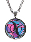 Bisexual Love Gunmetal Pendant with Chain Necklace
