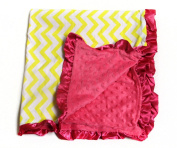 Baby Minky Receiving Blanket - Yellow and Hot Pink Chevron