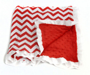 Baby Minky Receiving Blanket - Red and White Cheron