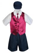 Leadertux 5pc Baby Toddler Boys Burgundy Vest Necktie Navy Blue Shorts Cap S-4T (L: