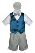 Leadertux 5pc Formal Baby Toddler Boy Green Teal Vest Light Grey Shorts Cap S-4T