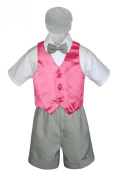 Leadertux 5pc Formal Baby Toddler Boys Coral Red Vest Lt. Grey Shorts Cap S-4T