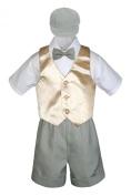 Leadertux 5pc Formal Baby Toddler Boys Champagne Vest Lt. Grey Shorts Cap S-4T (L: