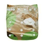 Besto Baby Reusable One Size Adjustable Pocket Minky Cloth Nappy Bear Print