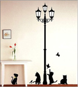 Black Beacon Lovely Cats Birds Wall Decal Home Sticker Paper Removable Living Dinning Room Bedroom Kitchen Art Picture Murals DIY Stick Girls Boys kids Nursery Baby Playroom Decoration PP-DM57-0100