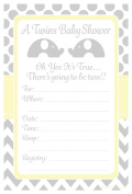 Twins Baby Shower Invitations Elephant Design Party - Fill In Style (20 Count) With Envelopes
