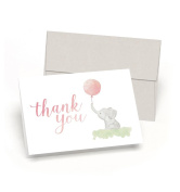 Beautiful Baby Shower Thank You Cards (Set of 10 Cards + Envelopes) - Watercolour Elephant & Pink Balloon - By Palmer Street Press