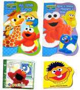 "4 Sesame Street Books for Kids - Two (2) Sesame Street Board Books (""Bubbles, Bubbles"" and ""At the Zoo""), One (1) Bath Time Bubble Bool ""Opposites!"", and One Foam Book ""Ernie's Cheerful Smile"""